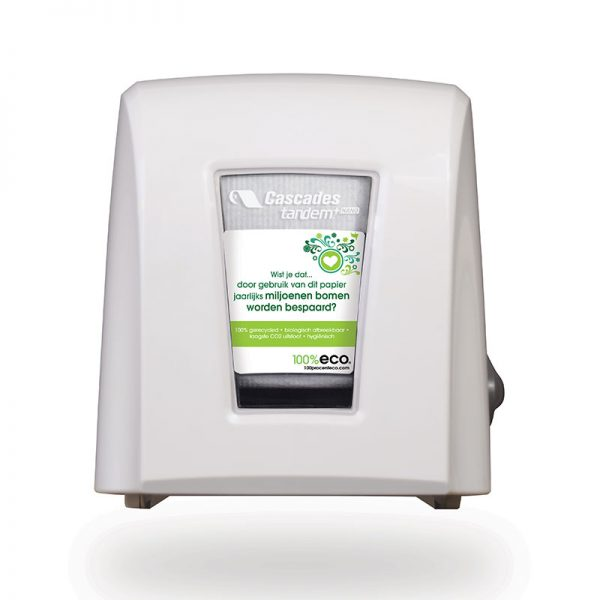 100% eco gerecycled papier dispenser wit