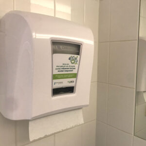 100% eco gerecycled papier dispenser op de wc